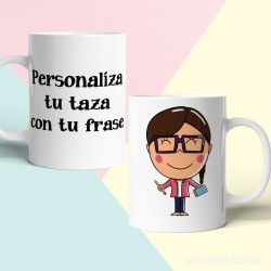 Taza Profesora con gafas personalizada